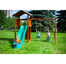 Игровой комплекс Jungle Gym Cottage + Swing Module Xtra + Rock